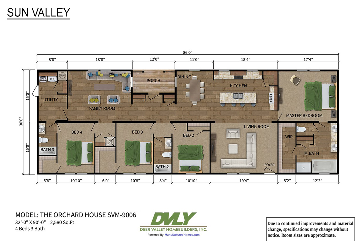 Sun Valley Series Orchard House SVM-9006 Layout