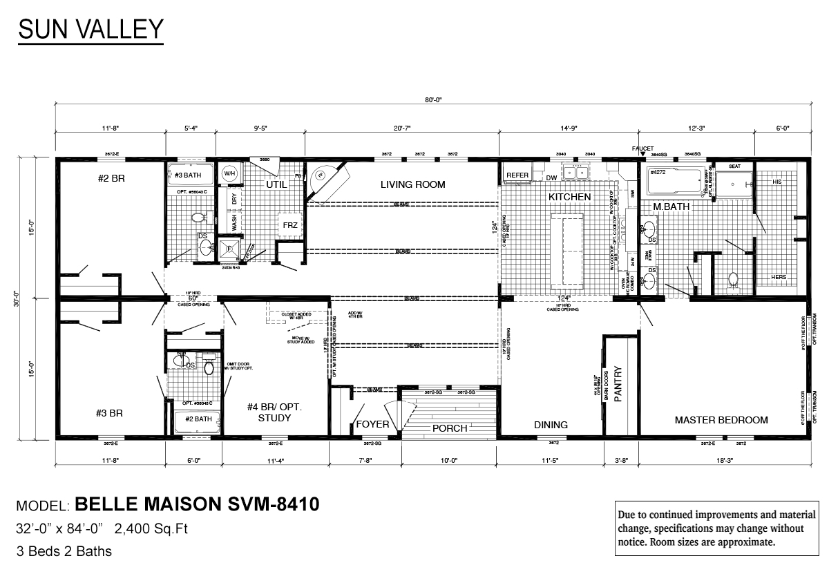Sun Valley Series Belle Maison SVM-8410 Layout