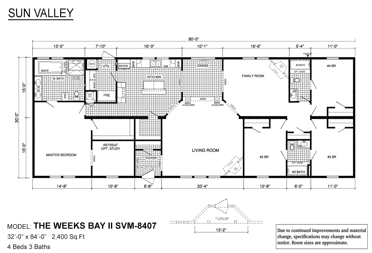 Sun Valley Series Weeks Bay II SVM-8407 Layout