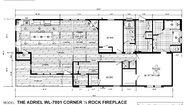 Woodland Series The Adriel WL-7801 Corner ½ Rock Fireplace Layout