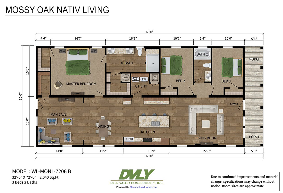 Mossy Oak Nativ Living Series WL-MONL-7206B Layout