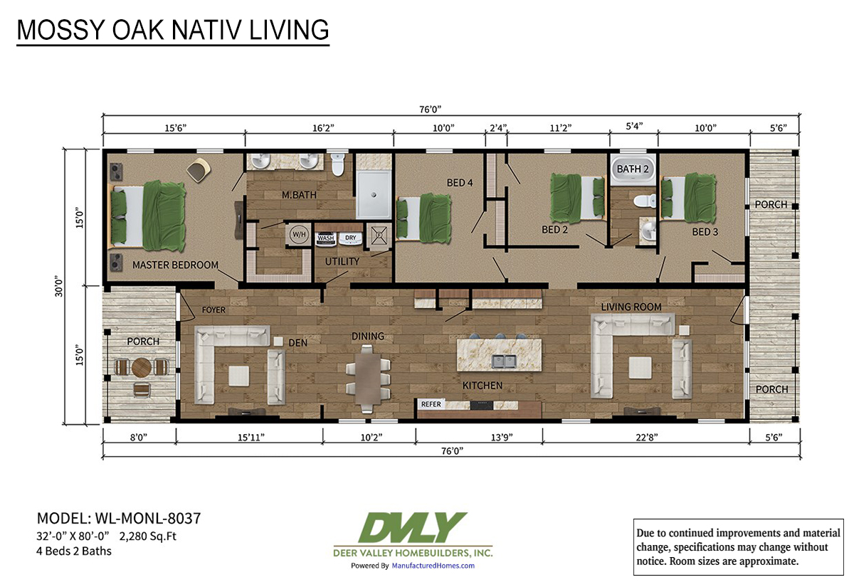 Mossy Oak Nativ Living Series WL-MONL-8037 Layout