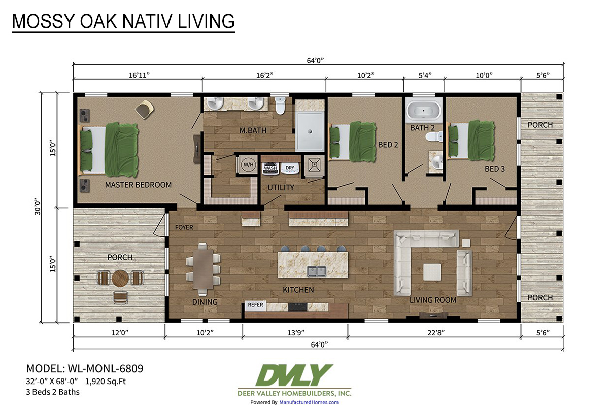 Mossy Oak Nativ Living Series WL-MONL-6809 Layout