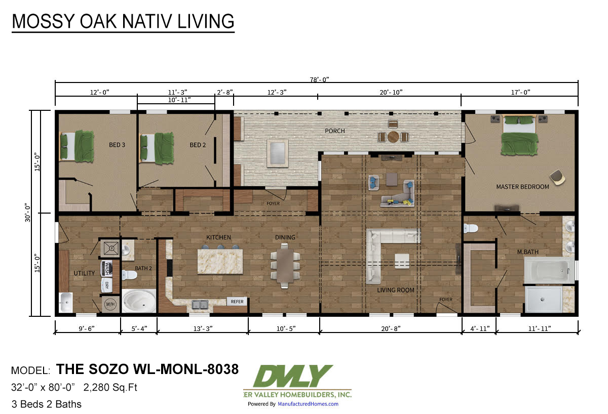 Mossy Oak Nativ Living Series The Sozo WL-MONL-8038 Layout