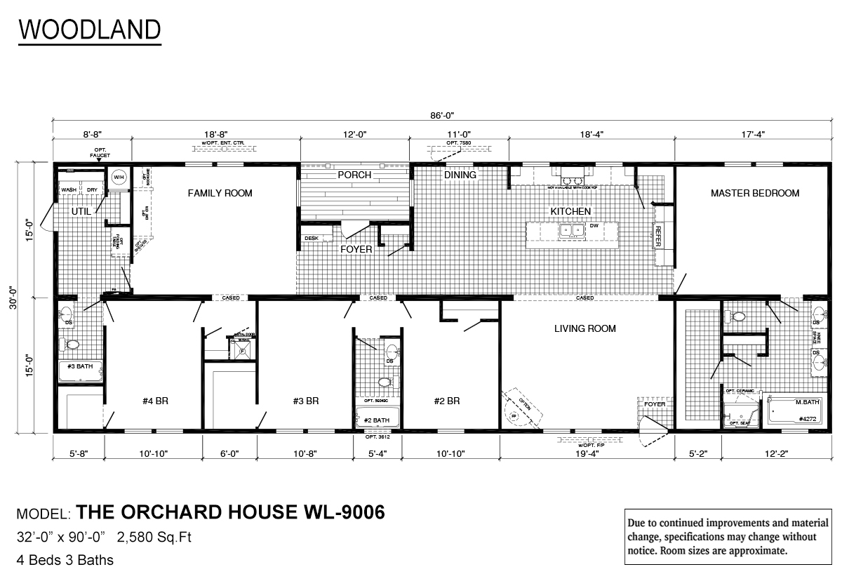 Woodland Series Orchard House WL-9006 (Larger Porch) Layout