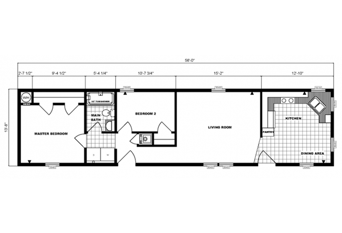 Single-Section Homes G-608 Layout