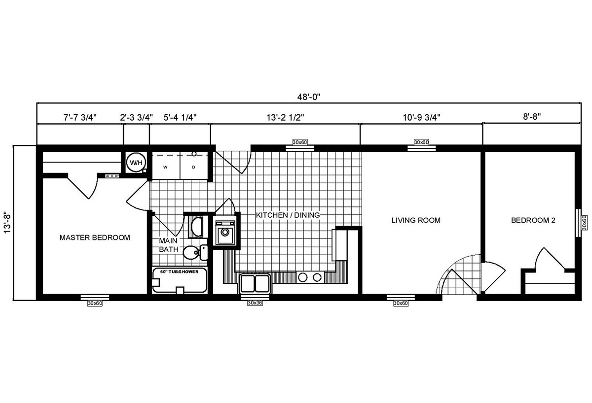 Single-Section Homes G-556 Layout