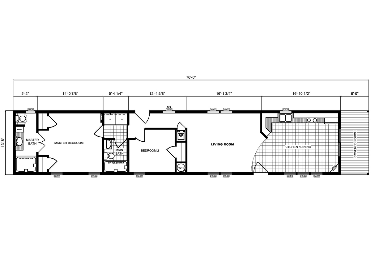 Single-Section Homes G-554 Layout