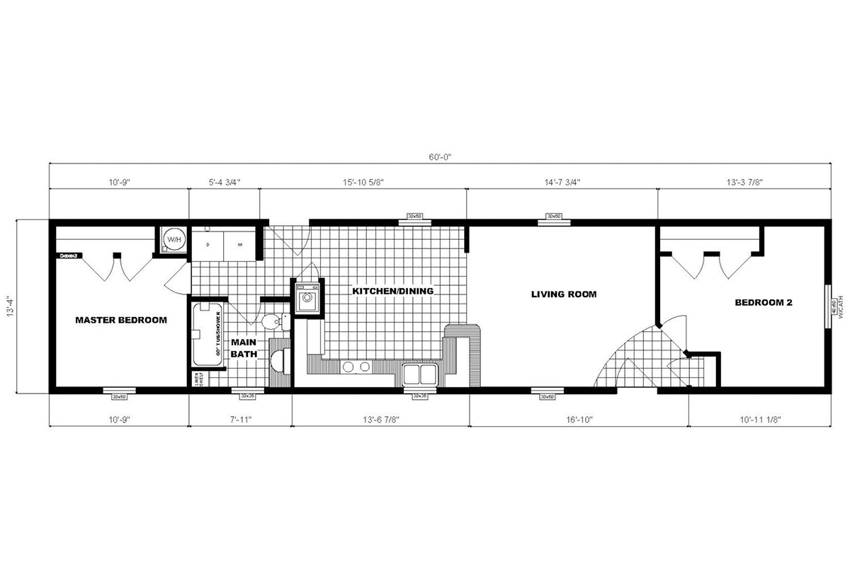 Single-Section Homes NETR G-491 Layout