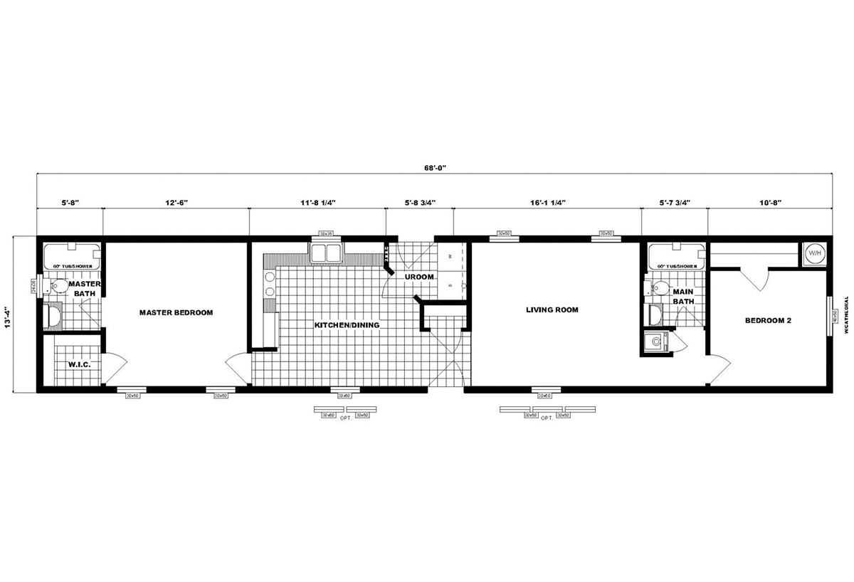 Single-Section Homes NETR G-626 Layout