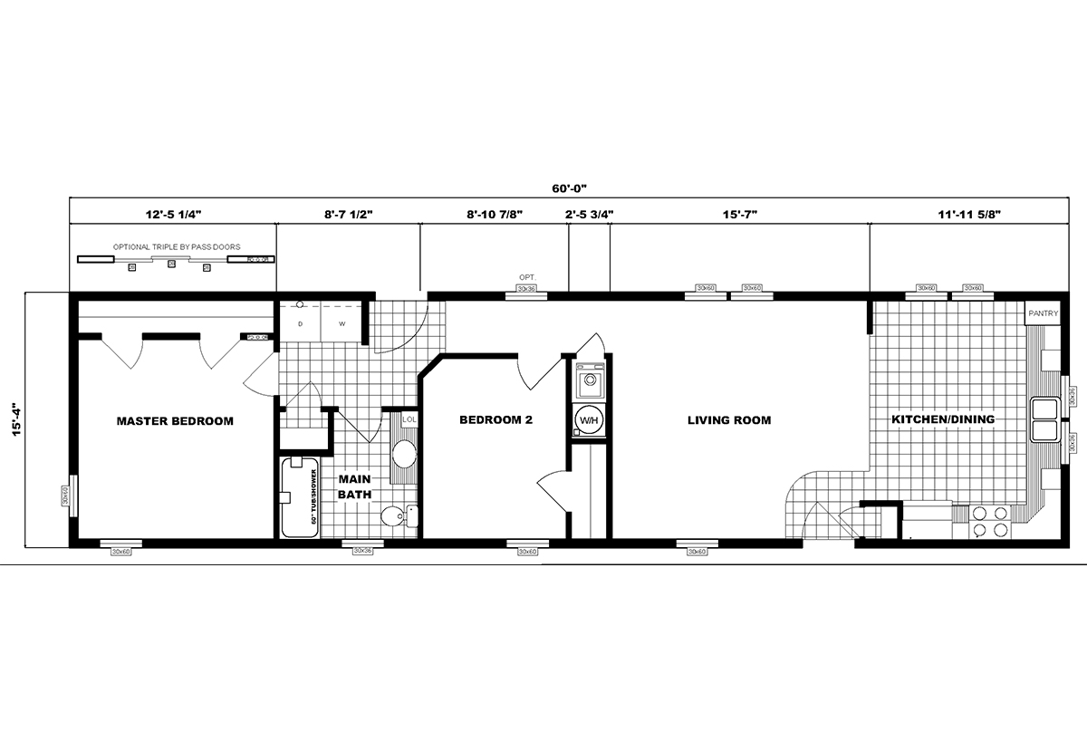 Single-Section Homes G-16-628 Layout