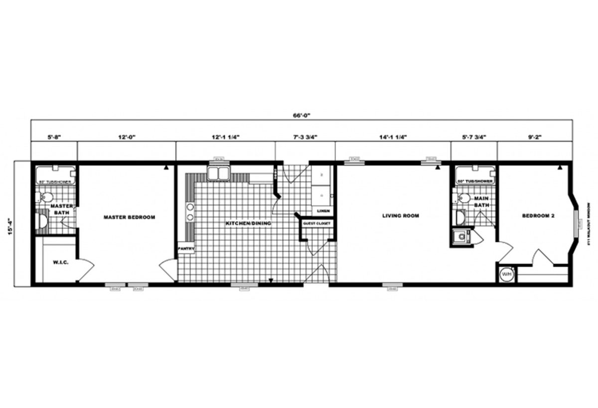 Single-Section Homes G-16-606 Layout