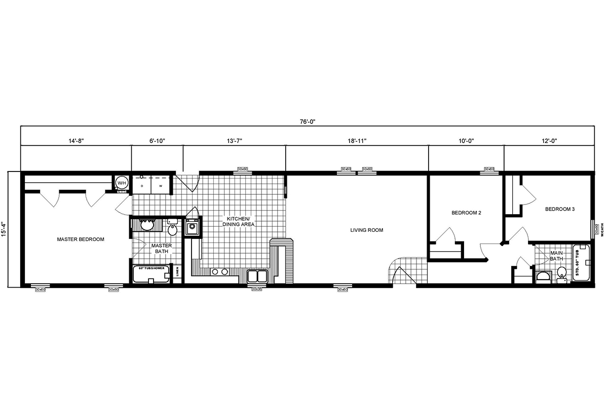 Single-Section Homes G-16-566 Layout