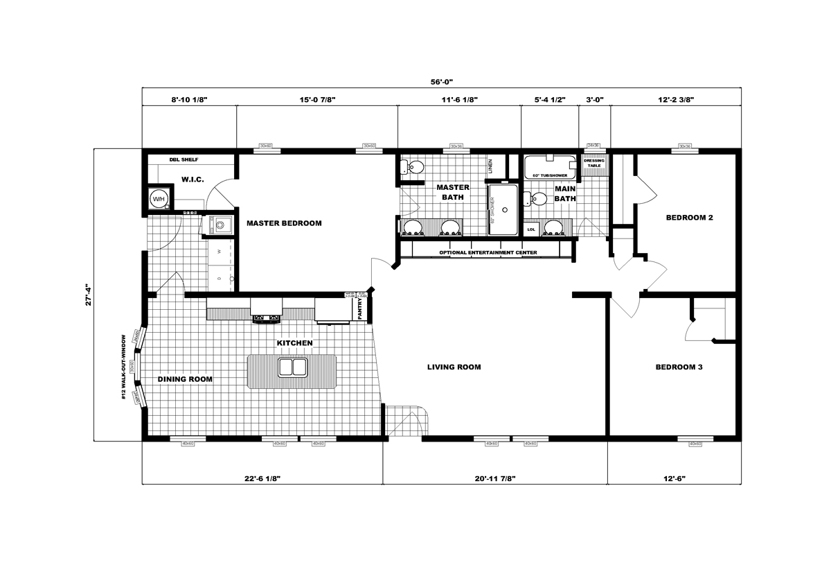 Ranch Homes G-3462 Layout