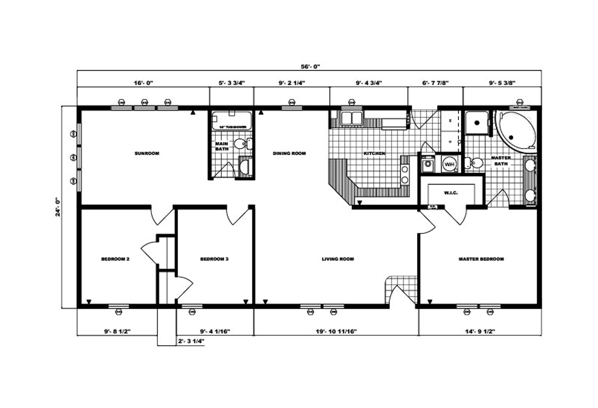 Ranch Homes G-246 Layout