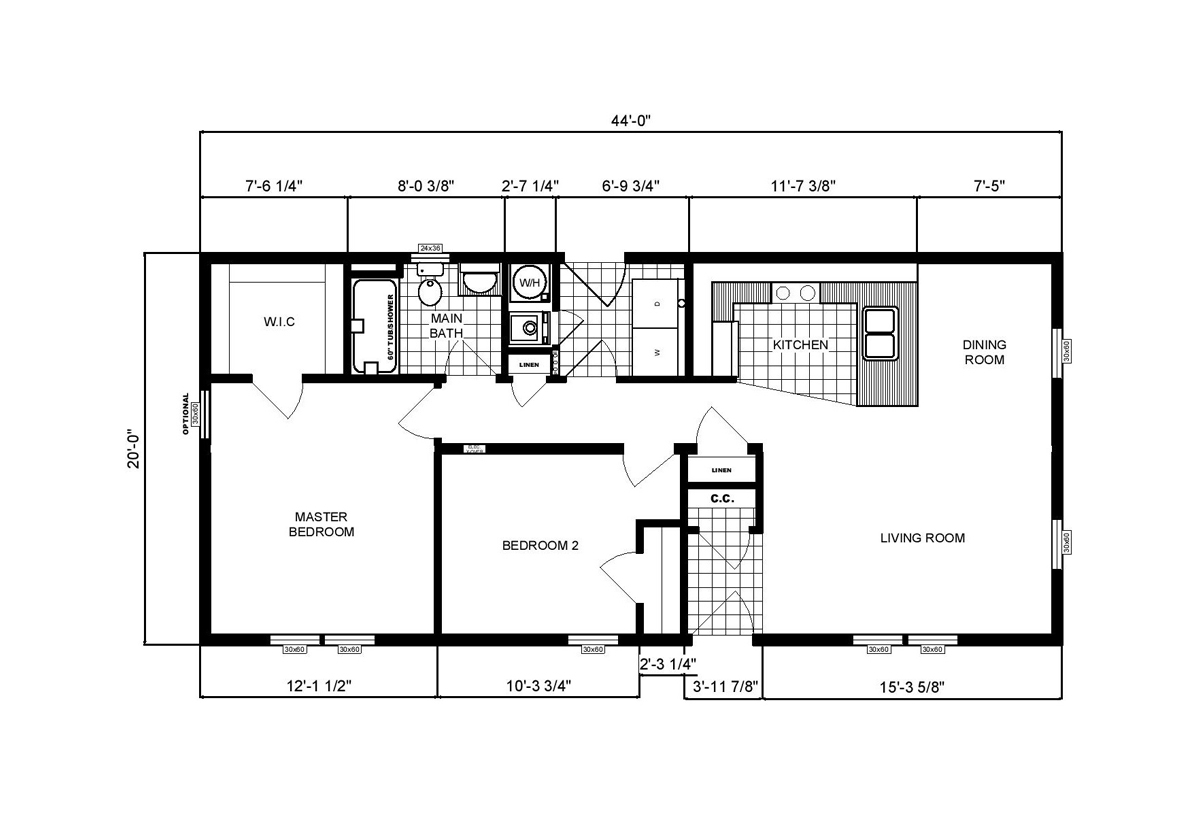 Ranch Homes GH-110 Layout