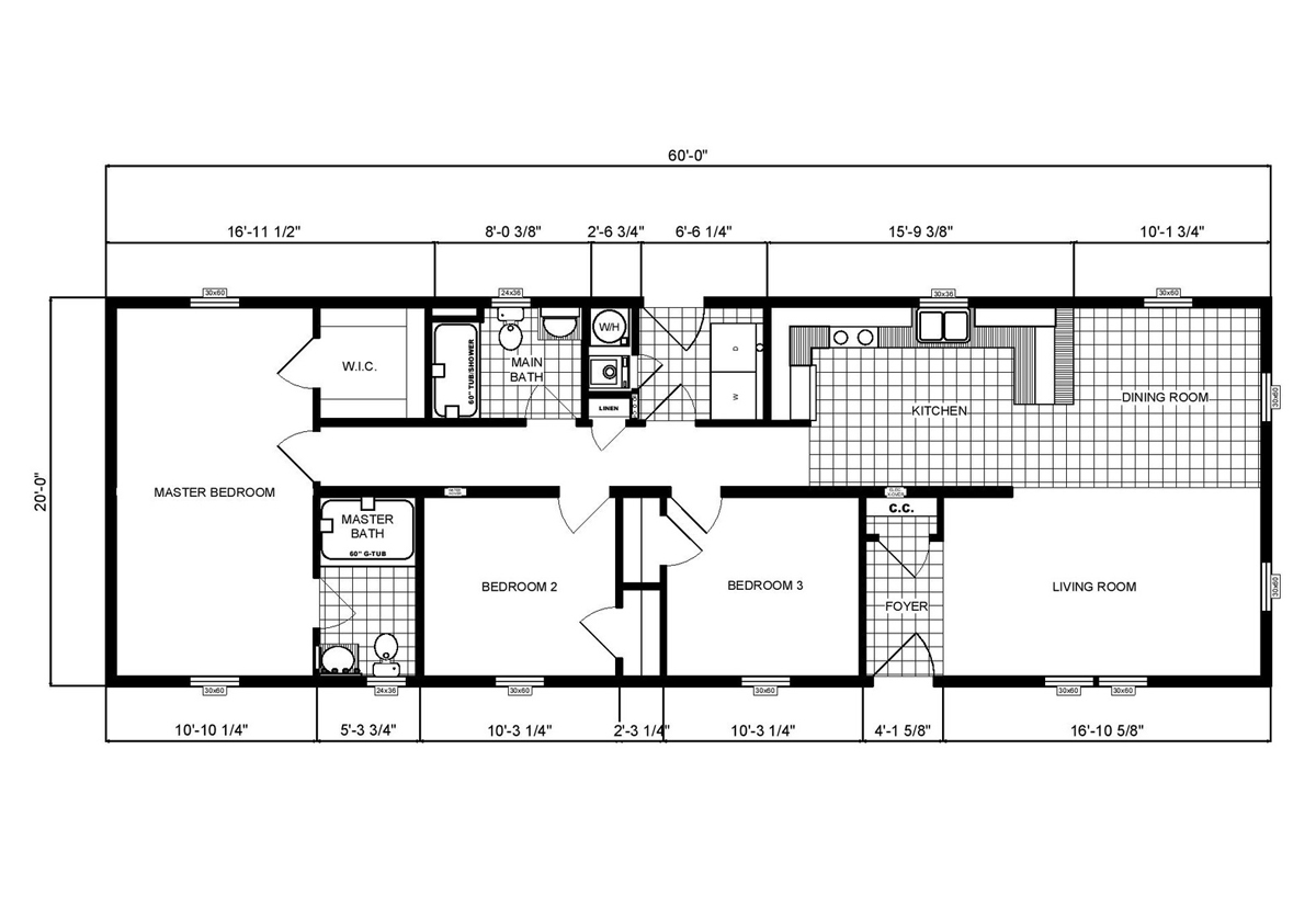 Ranch Homes GH-180 Layout