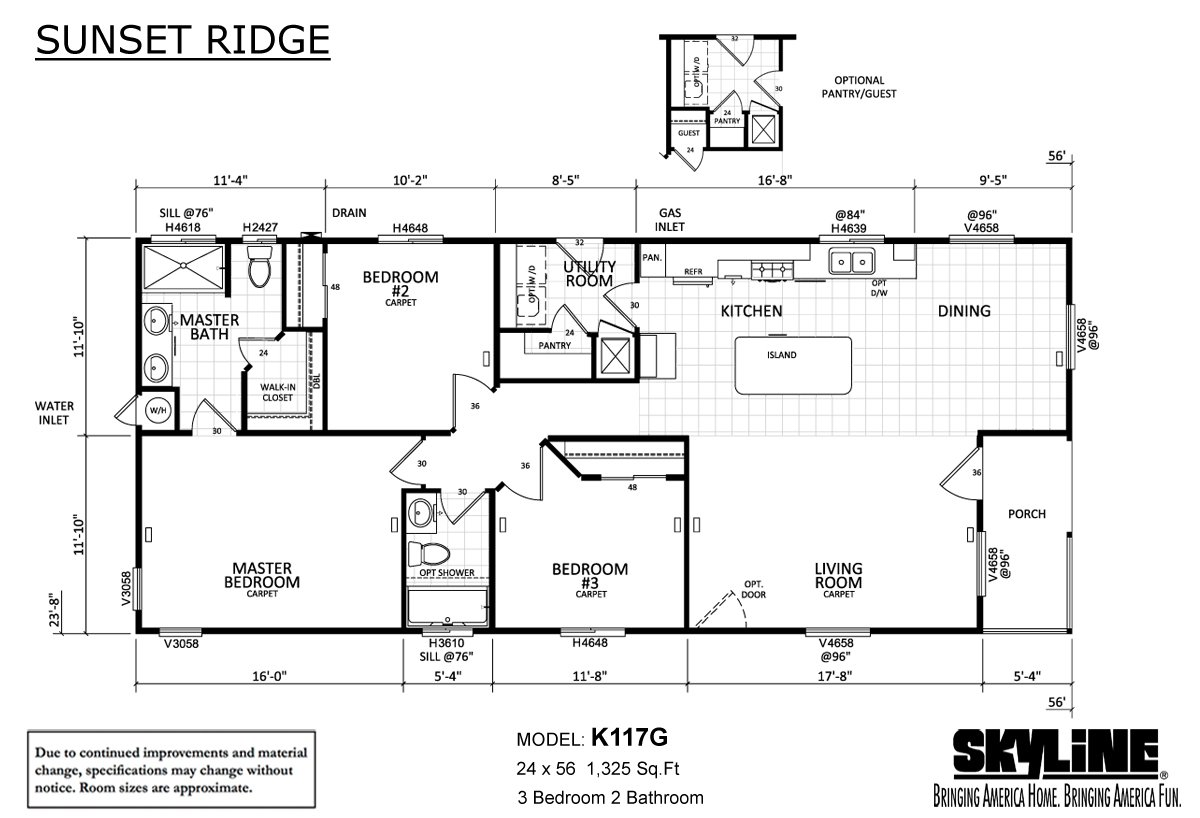 Sunset Ridge K117G Layout