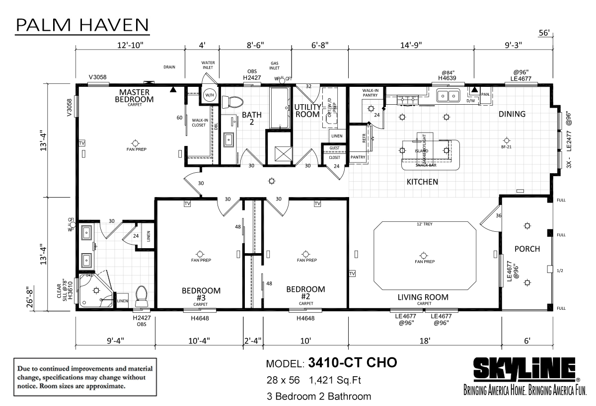 Palm Haven 3410-CT CHO Layout