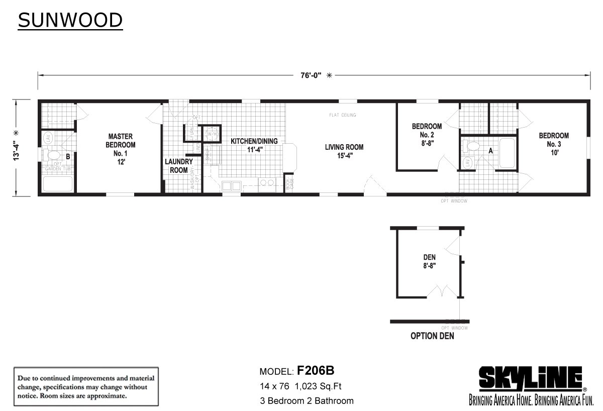 Sunwood F206B Layout