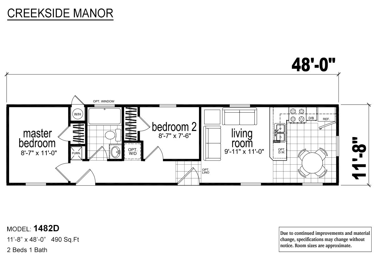 Creekside Manor 1482D Layout