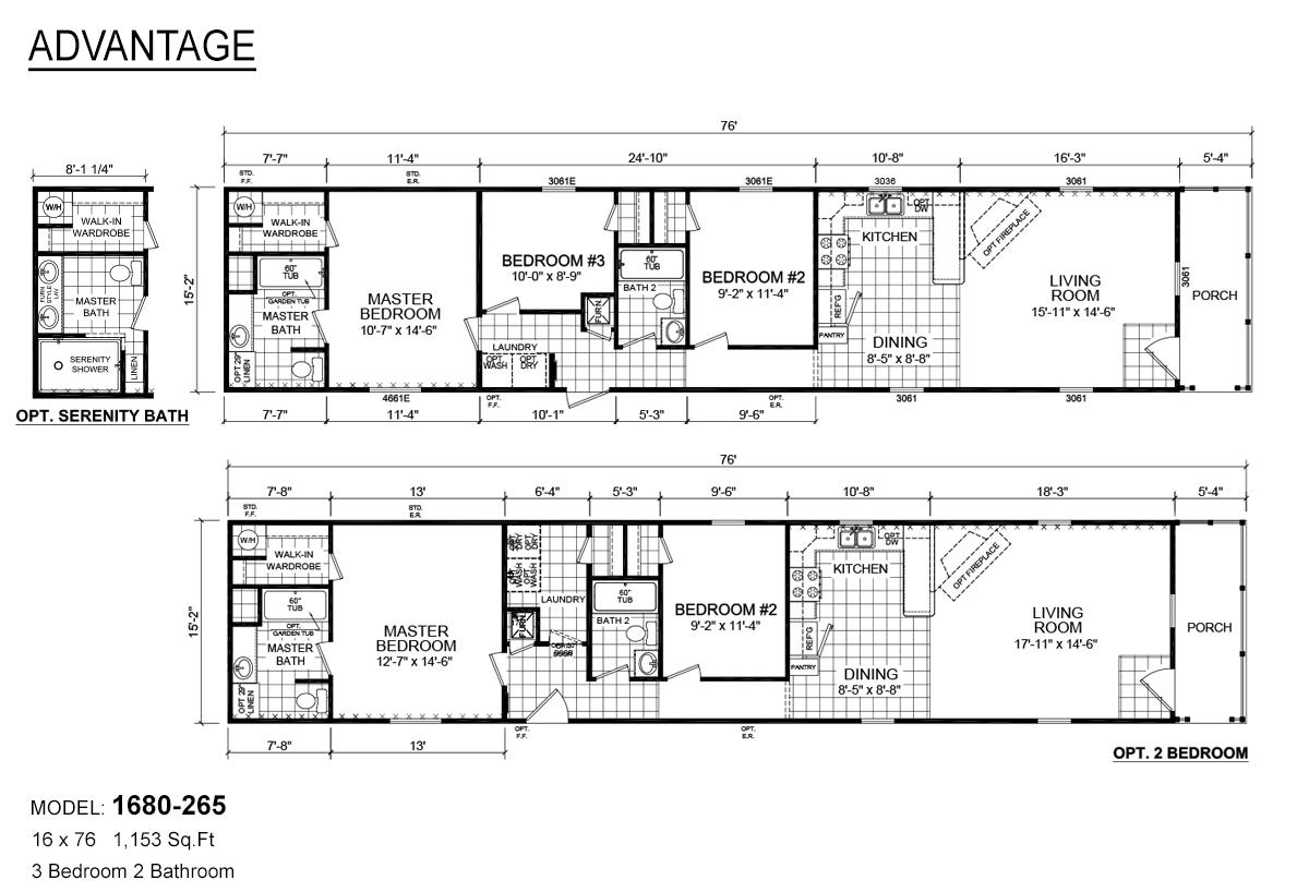 Advantage Single 1680-265 Layout
