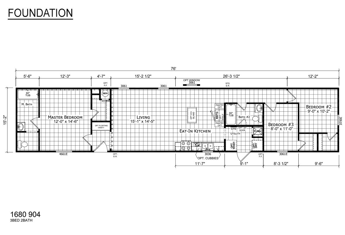 Foundation Singlewide 1680-904 Layout