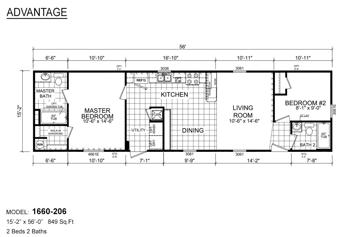 Advantage Single 1660-206 Layout