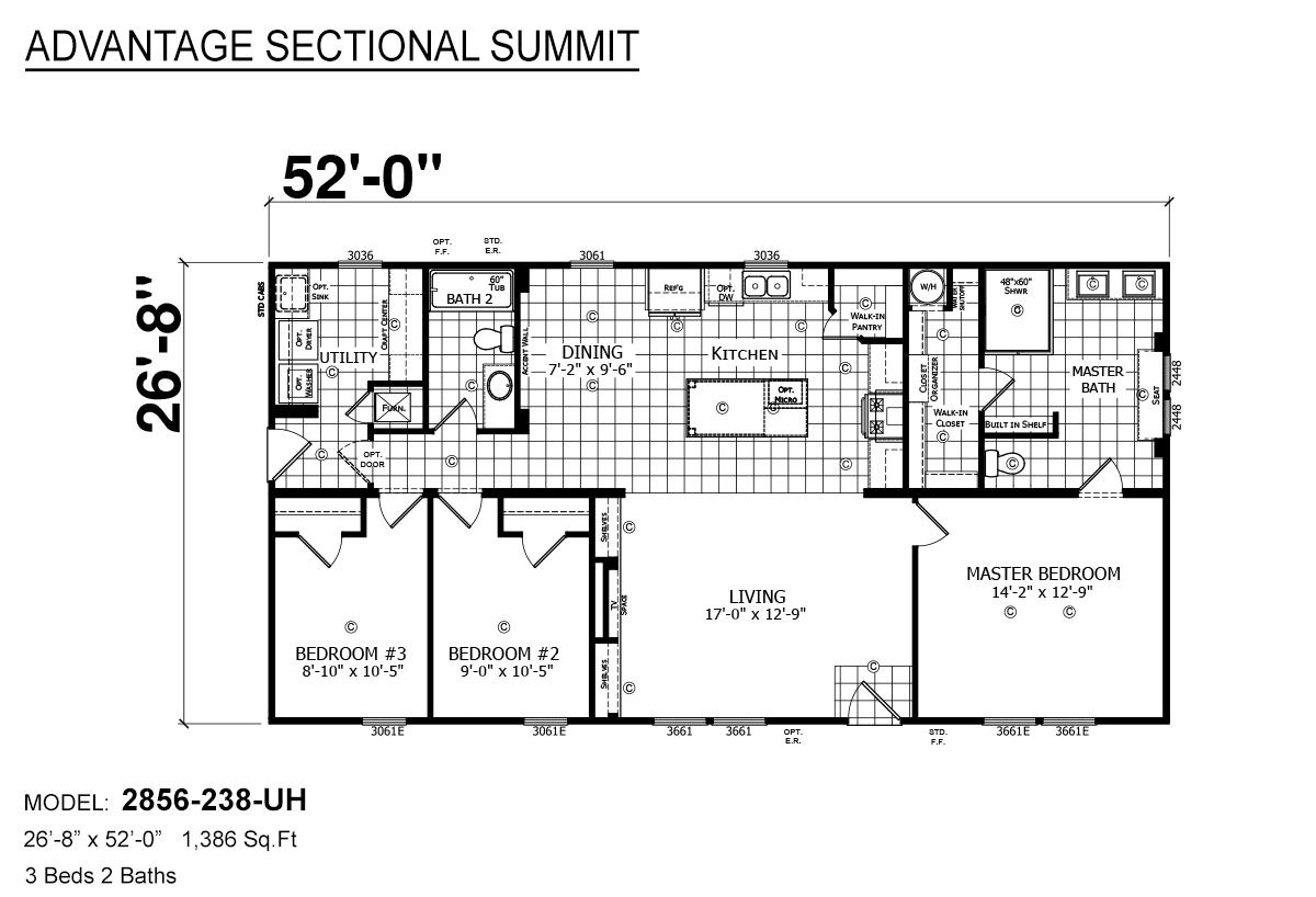 Advantage Sectional Summit 2856-238-UH Layout