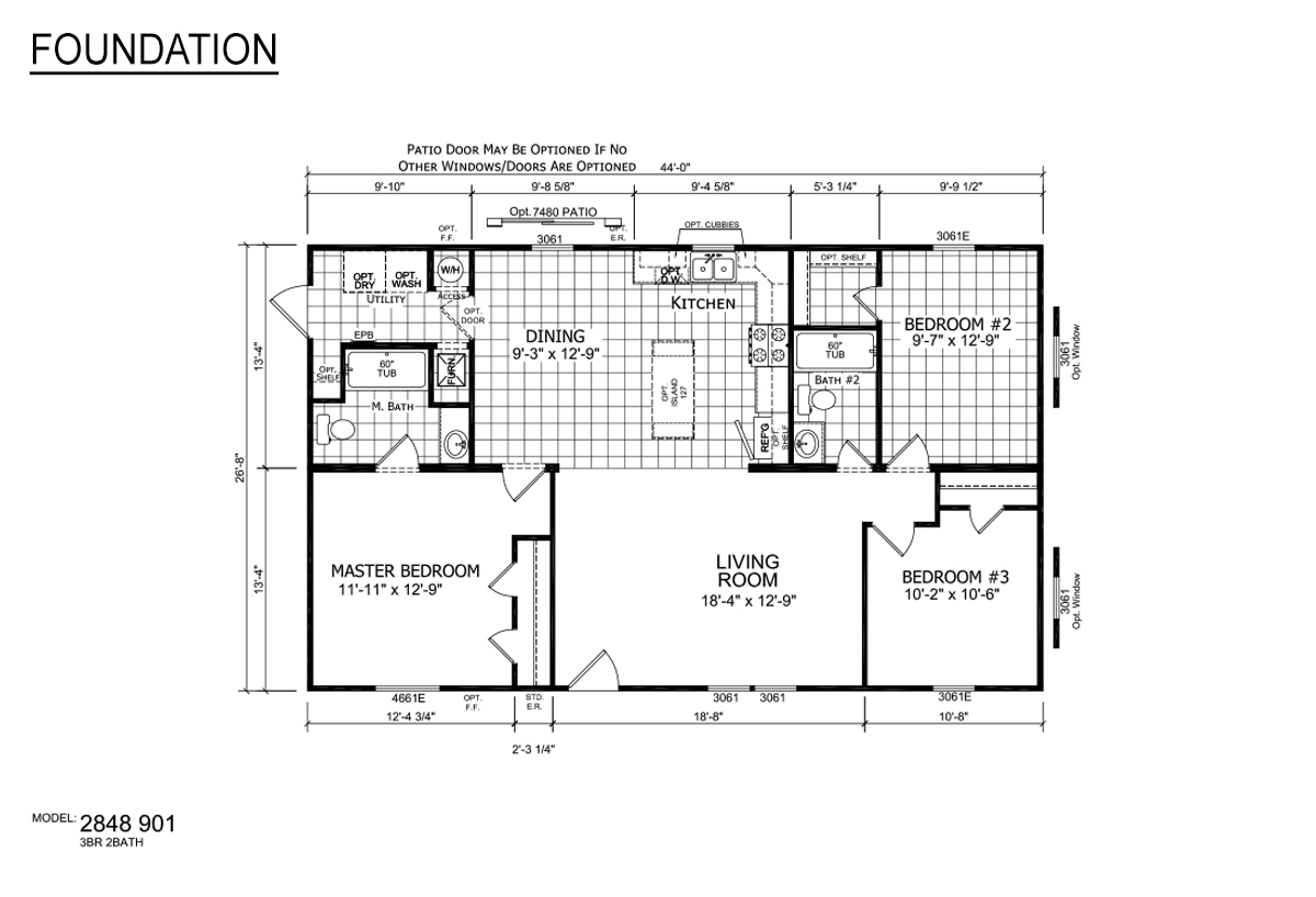 Foundation Sectional 2848-901 Layout