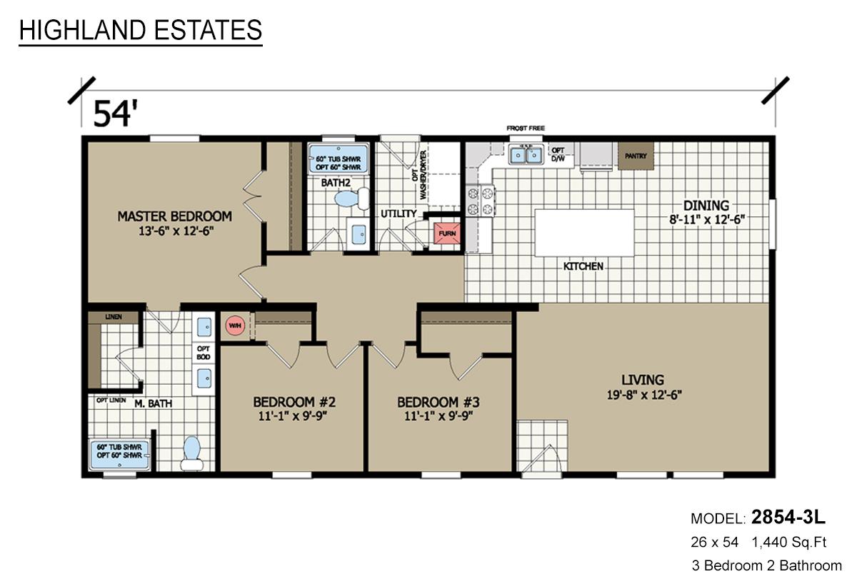 Highland Estates 2854-3L Layout