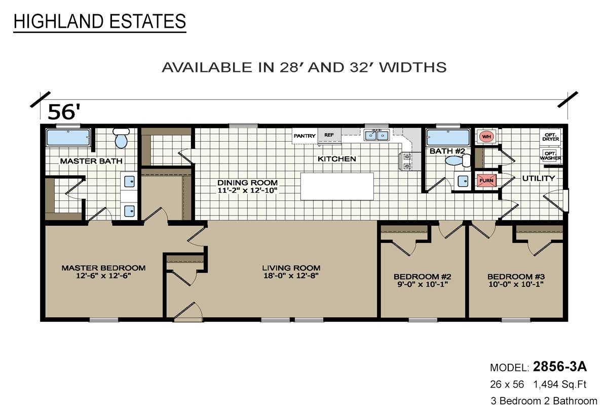 Highland Estates 2856-3A Layout