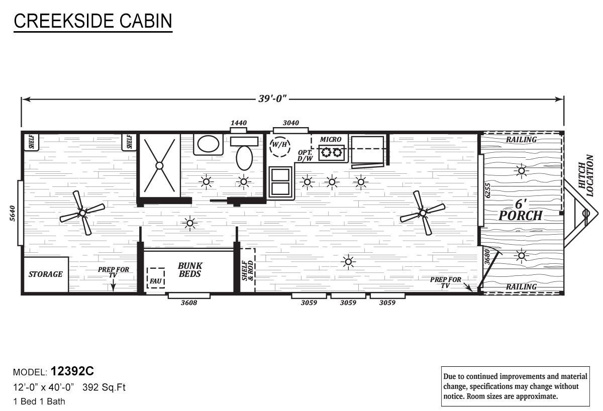 Creekside Cabin 12392C Layout