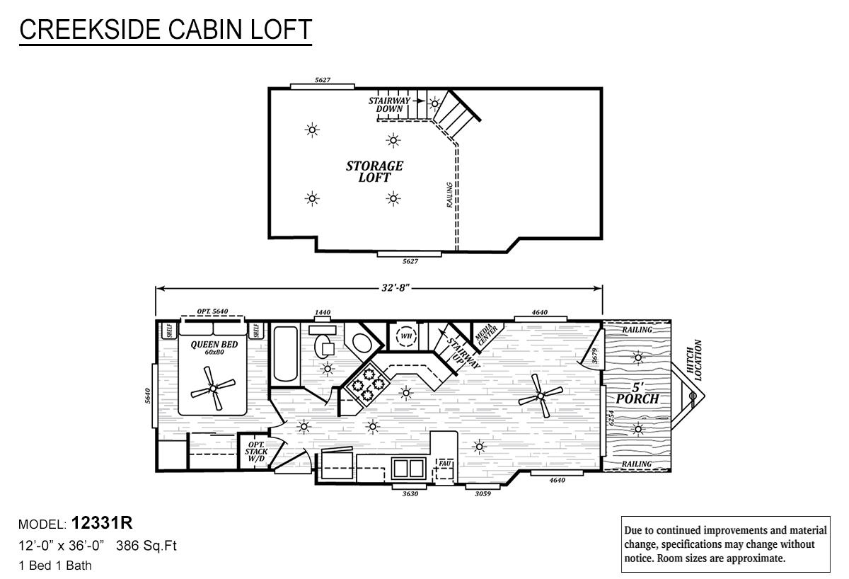 Creekside Cabin Loft 12331R Layout