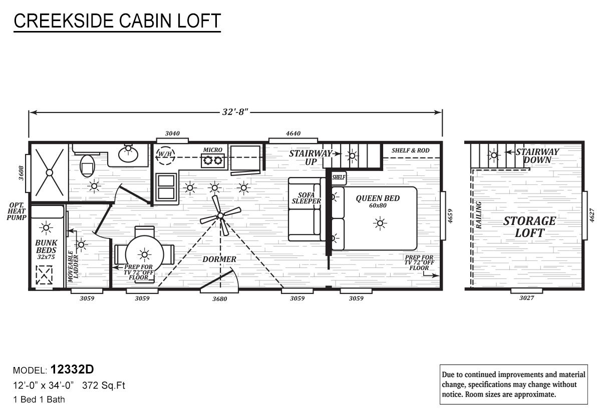 Creekside Cabin Loft 12332D Layout
