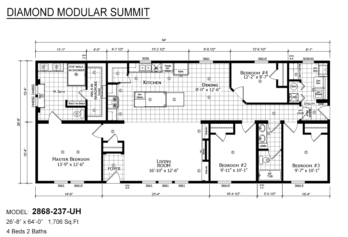 Diamond Modular Summit 2868-237-UH Layout