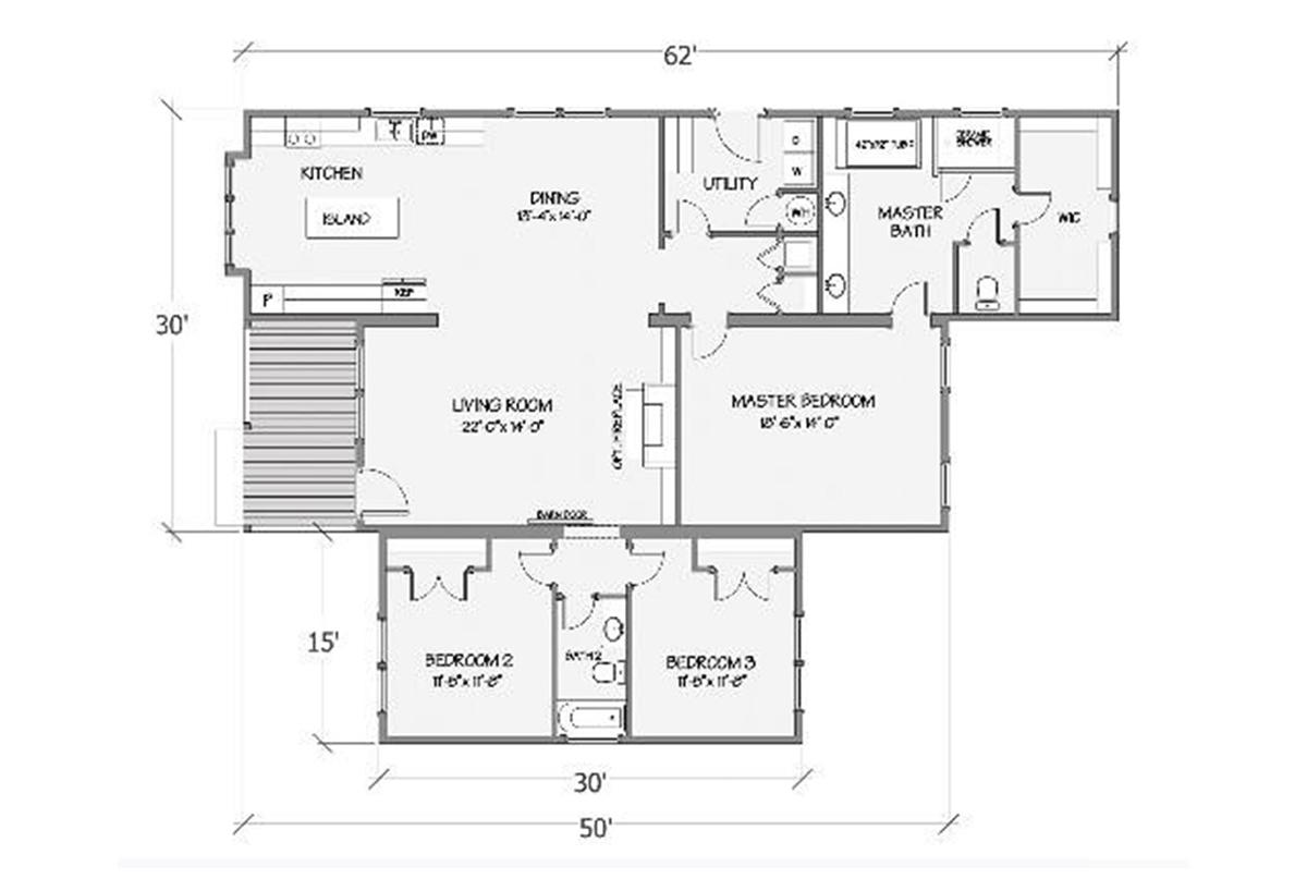 Farmhouse Series Azalea III 5121-66-3-47 Layout