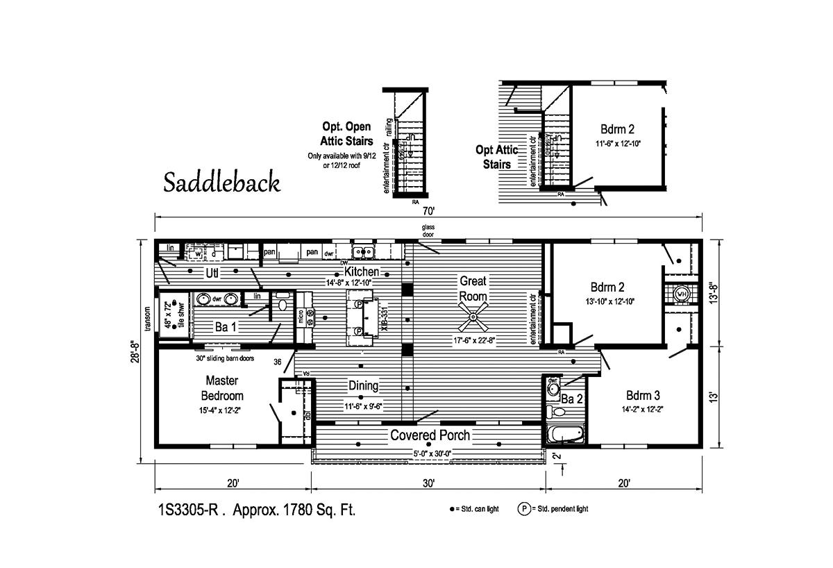 Summit Saddle Saddleback 1S3305-R Layout