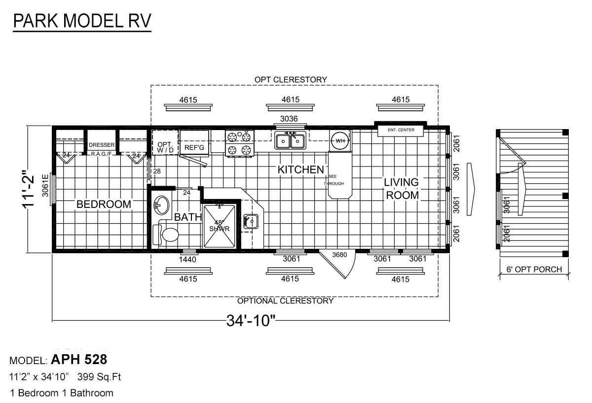 Park Model RV APH 528 Layout