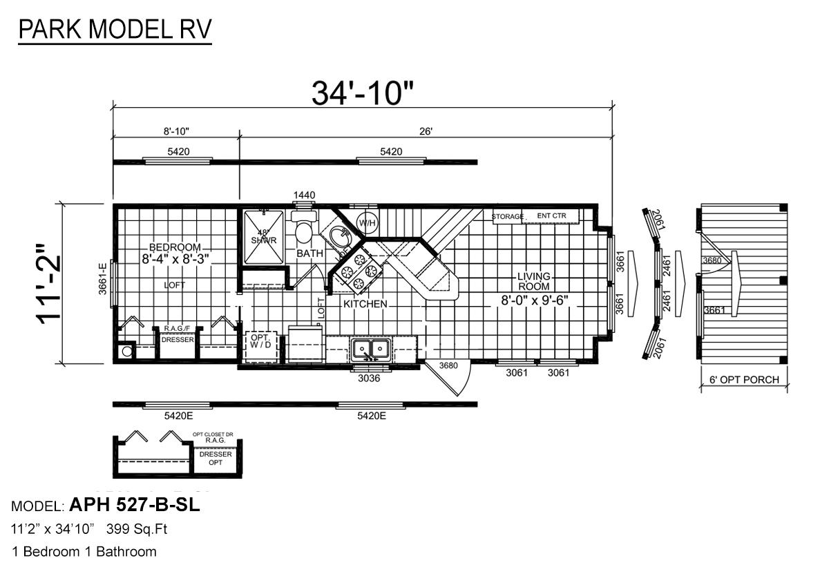 Park Model RV APH 527 Layout