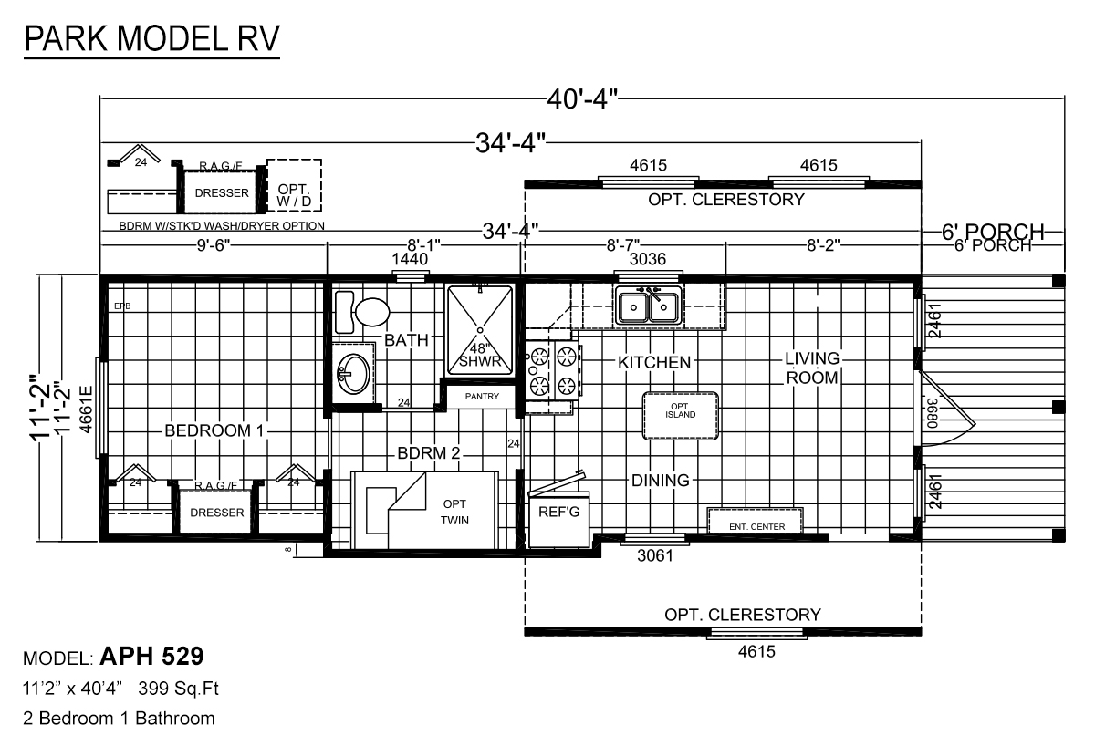 Park Model RV APH 529 Layout