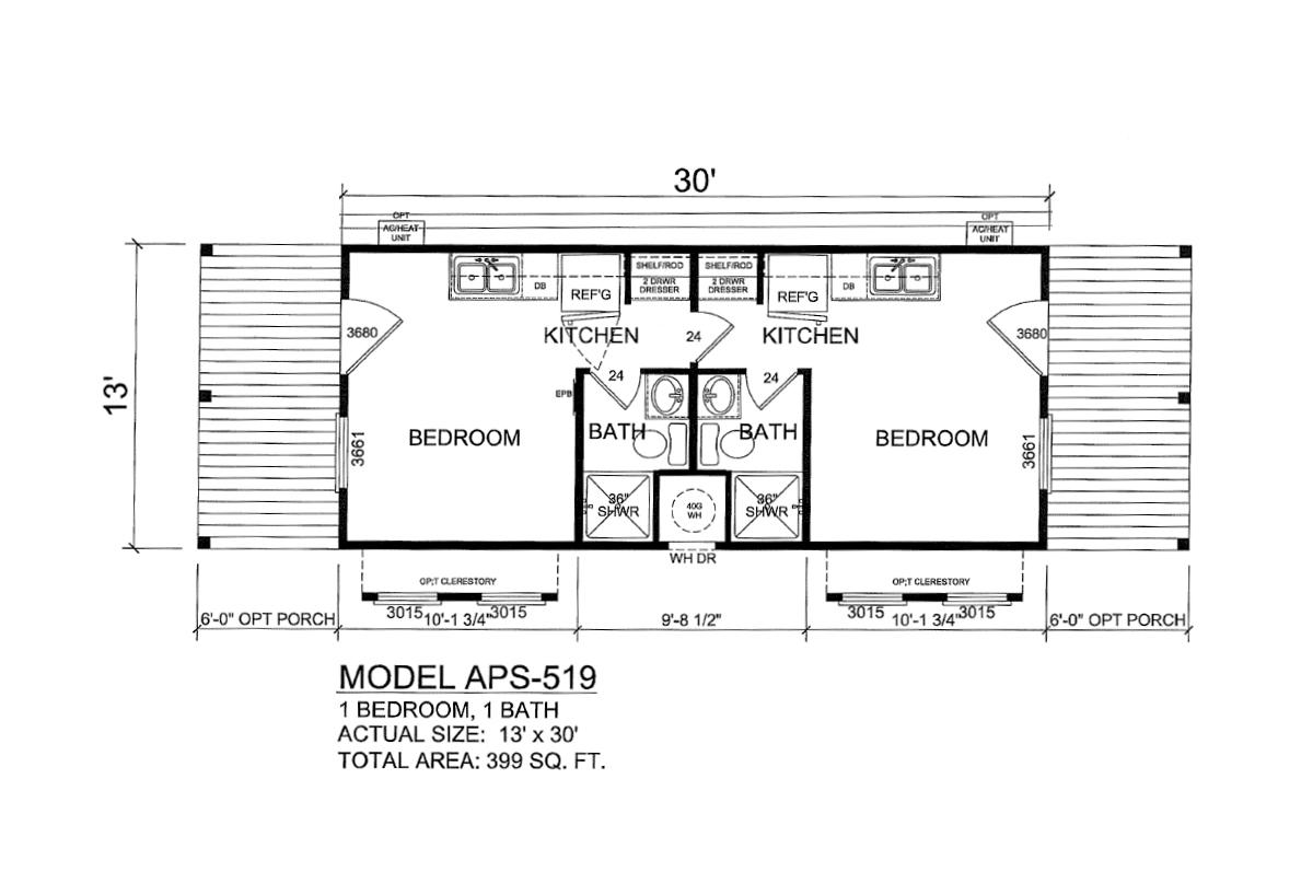 Park Model RV APS 519 Layout