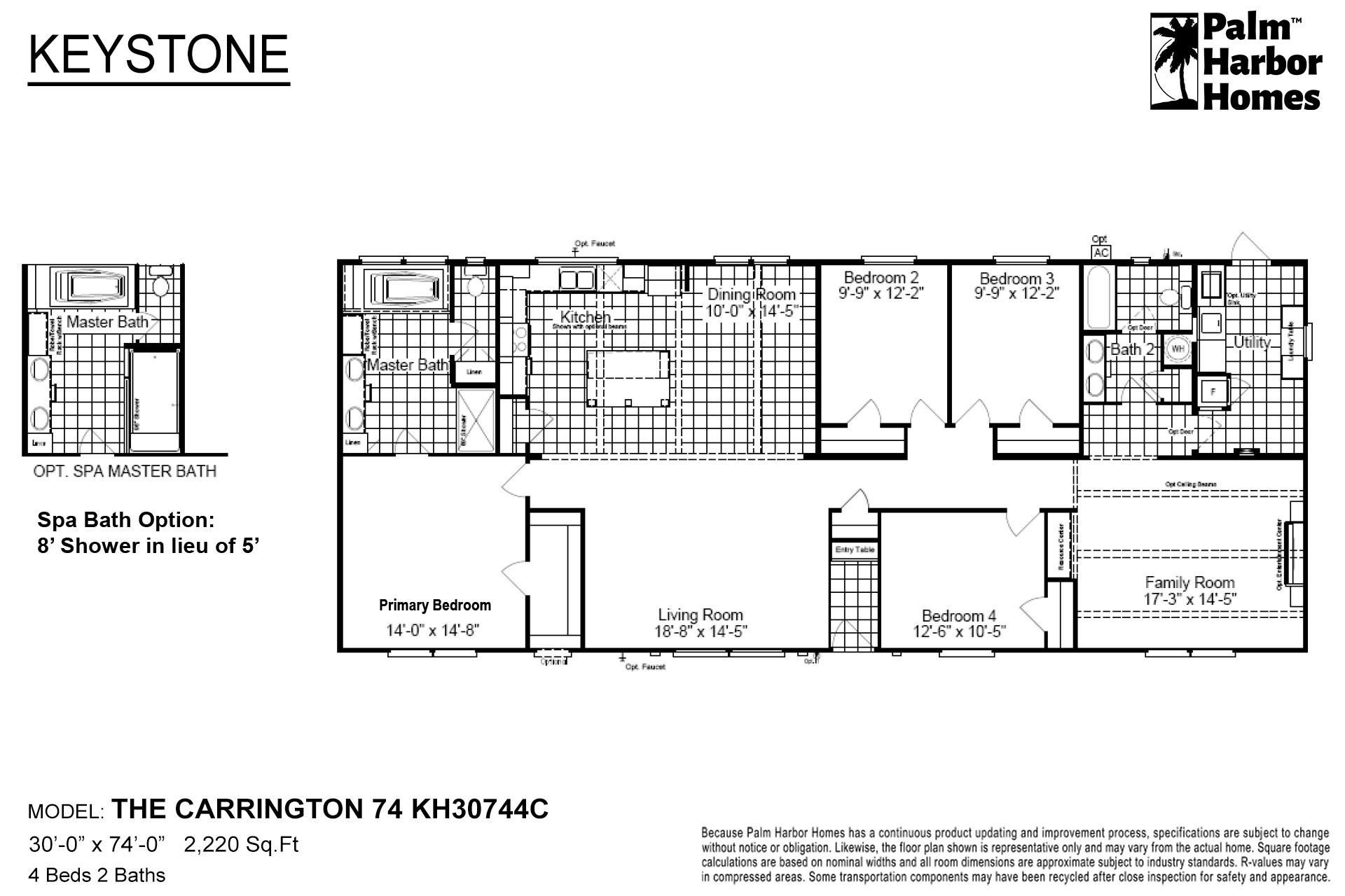 Keystone The Carrington 74 KH30744C Layout