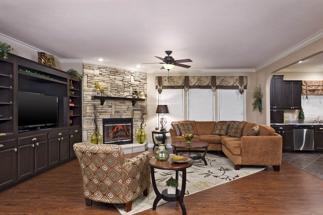 Carmel Sand Full Rock Fireplace With Espresso Mantle