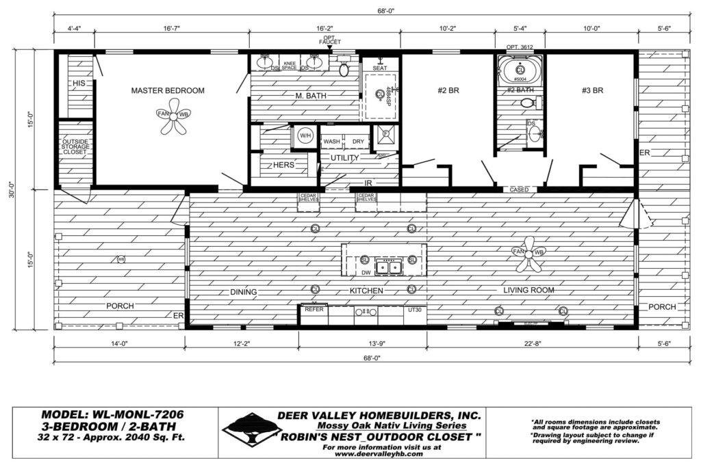 Deer Valley Homebuilders - Mossy Oak Nativ Living WL-MONL-7206 Floor Plan