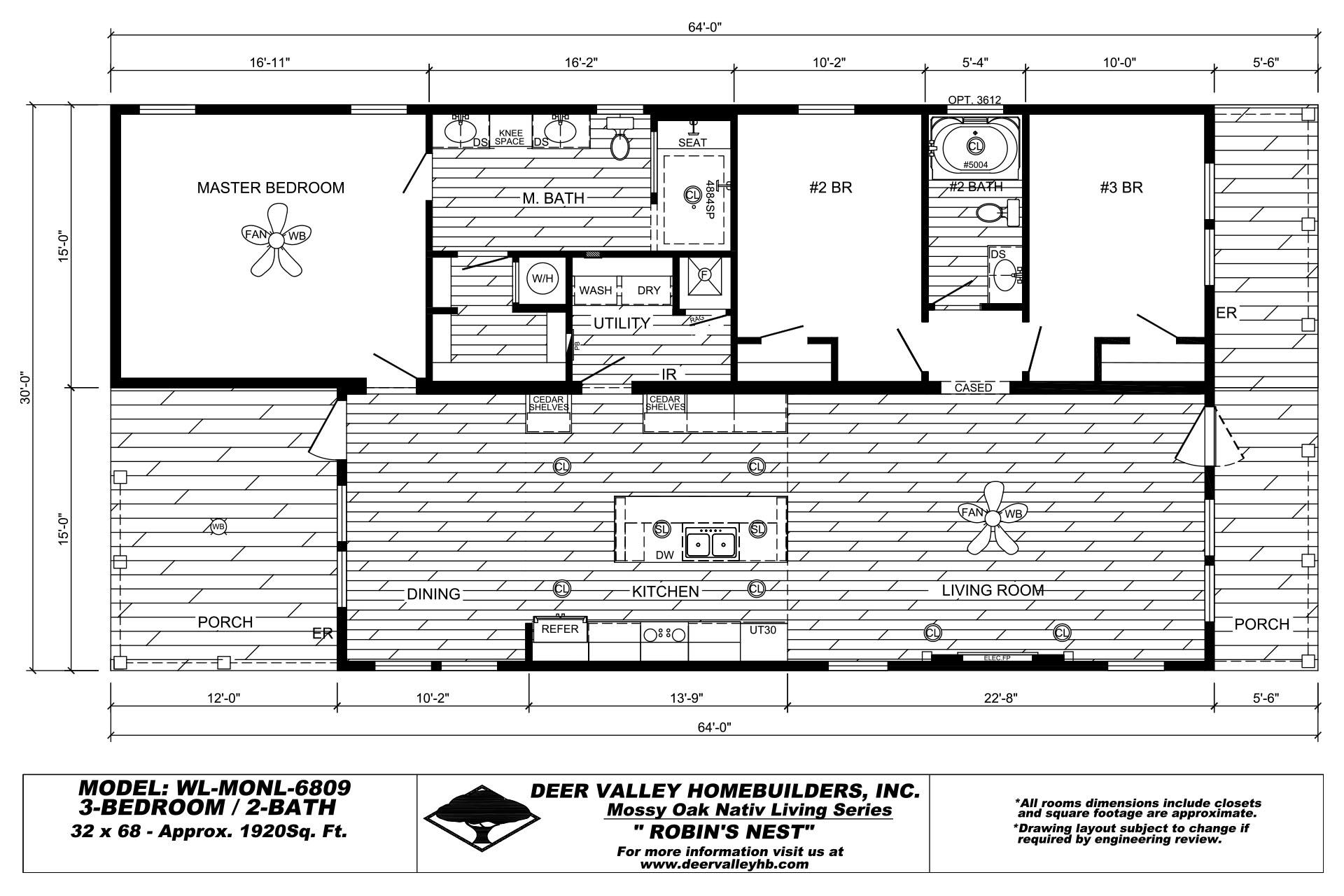 Deer Valley Homebuilders - Mossy Oak Nativ Living - WL-MONL-6809-Floor Plan 21
